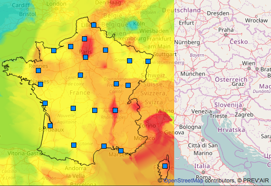 La France et la pollution atmosphérique le 8/12/16 à 10:52, comme l'affiche le site de Prev'Air